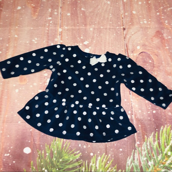 Carter's Other - Carter's Navy Silver Polka Dot Bow Tie Long Sleeve